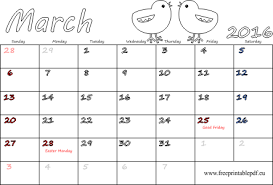 march 2016 calendar with holidays free printable pdf