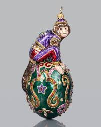 strongwater monkey in an egg ornament