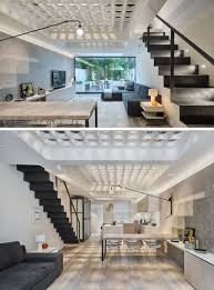 the floor in this house is filled with glass circles that allow