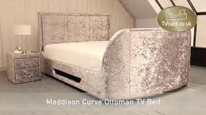 Ottoman Tv Bed Maddison Curve Crushed Silver Ottoman Tv Bed Youtube