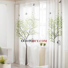 pure white cotton living room curtain printed with tree pattern