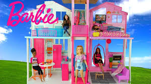 barbie doll house with pink bedroom doll bathroom and toy kitchen