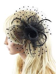 women s hair accessories betty black polka dot fascinator hat with hair clip and