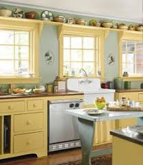 Yellow Kitchen Cabinets What Color Walls Yellow Kitchen Cabinets So Bright Pretty Cottage Kitchen