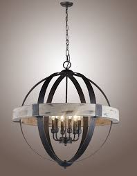 Decor Chandelier Lighting Gray Wood And Iron Valencia Chandelier For Your House