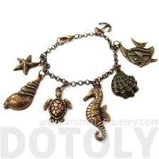 themed charm bracelet sea creatures themed seahorse starfish turtle charm bracelet in