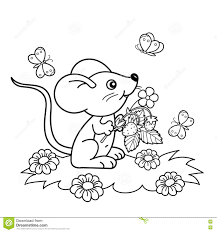 coloring page outline of cartoon little mouse with strawberries in