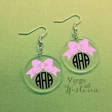 customized earrings customized bow monogram earrings from verge of wisteria