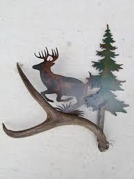 c112 whitetail deer leaping authentic deer antler u0026 metal wall