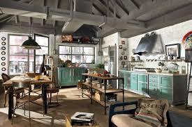 dark industrial kitchen design with exhaust hood also black ebony