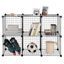storage organizer unit 6 cube wire floor standing shelving office