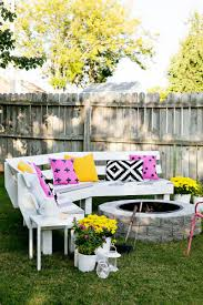 ana white diy curved fire pit bench featuring a beautiful mess