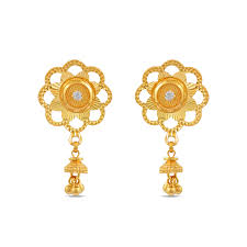 gold ear rings gold drops flower top gold earrings