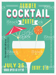 invitation card for summer cocktail party stock vector art