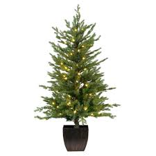 home accents 4 ft pre lit warm white led potted artificial