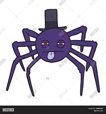 freehand drawn cartoon halloween spider in top hat stock vector