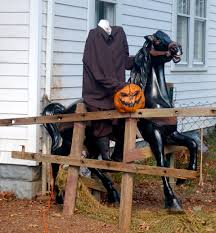 fantastic halloween decoration idea with black horse with ghost