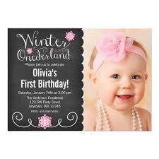 winter onederland photo birthday invitation card