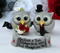 halloween wedding cake topper grey owls love birds bride and