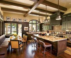 interior extraordinary tuscan kitchen decoration using red wood
