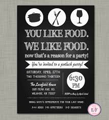 chalkboard pot luck party invite just because party