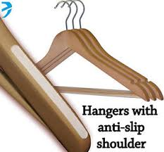 wooden hangers with side grips and non slip trouser bar ebay