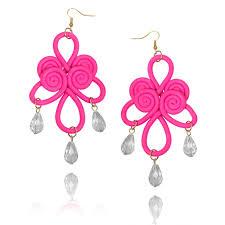 fuschia chandelier polymer clay knot chandelier earrings fuschia