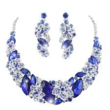 rhinestone statement necklace images 2018 royal blue color statement necklace earrings set bridal jpg