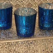 mercury tea light holders set of 10 mercury glass blue cobalt navy from embellish1122 on