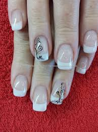 white acrylic tips with black freehand nail art taken at 07 11