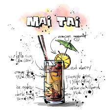 mai tai cocktail hand drawn illustration of cocktail mai tai vector collection