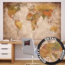 World Map Wallpaper Wallpaper Used Look Wall Picture Decoration Globe Continents