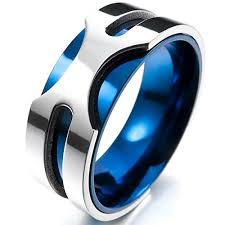 mens blue wedding bands inblue men s 8mm stainless steel ring band silver tone blue