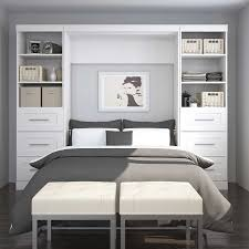 Wall Bed Set Boutique Wall Bed With Two Storage Units And Drawer In White
