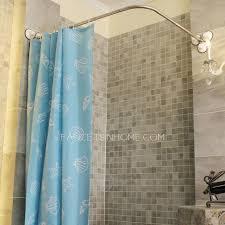 L Shape Curtain Rod L Shaped White Shower Curtain Rod No Punch