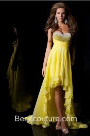 strapless sweetheart high low yellow chiffon beaded prom dress