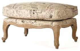 Linen Club Chair French Country Literary Script Linen Club Chair Ottoman