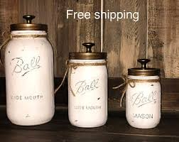 rustic kitchen canisters canister set etsy