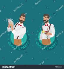 set emblems cocktail party cheerful mustachioed stock vector