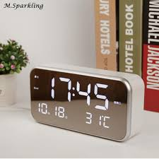 t harger horloge de bureau fibisonic digital led alarm clock electronic desktop table clock