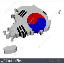 South Korea Flag Illustration Of South Korea Map Flag 3d Render