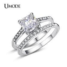 engagement rings and wedding band sets umode brand engagement ring set two band 1 6 carat princess cut