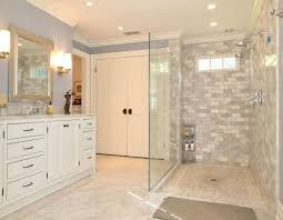 Bathroom Sconce Height Contemporary Master Bathroom With Inset Cabinets By Betsy Pepine