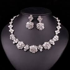 bridal necklace earring images New luxury silver plated blue crystal dubai bridal jewelry set for jpg