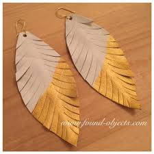 dipped in gold white dipped in gold leather leaf earrings found objects