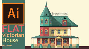 Victorian Era Drawing A Victorian Era House In Illustrator Fast Drawing Youtube