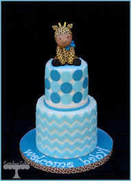 chevron and polka dot baby shower cakes with a fondant giraffe