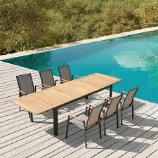 Outdoor Dining Chair Galiendo Outdoor Dining Set 1 Teak Table U0026 6 Gray Chairs