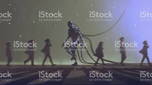 robot walking to different way among the people stock vector art