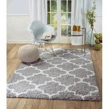 Gray And White Area Rug Rug And Decor Inc Supreme Shag Royal Trellis Grey White Area Rug